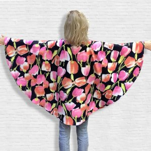 Adult Hospital Gift Fleece Poncho Cape Pink Peach Tulips