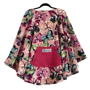 Adult Hospital Gift Woman's Fleece Poncho Cape Ivy Butterfly