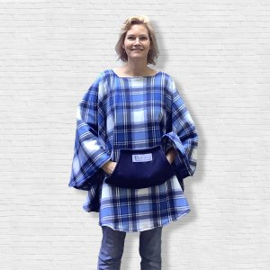Adult Hospital Gift Fleece Poncho Cape Ivy Blue White Plaid