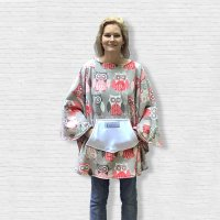 Adult Teen Hospital Gift Fleece Poncho Cape Ivy Owl