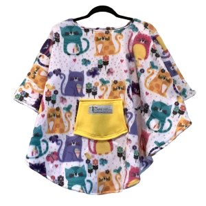 Child Hospital Gift Fleece Poncho Cape Ivy Garden Kitty