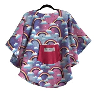 Child Hospital gift fleece poncho Cape Ivy Rainbows Pink Purple