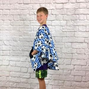Boy Child Hospital Gift Fleece Poncho Cape Ivy Soccer Chevron