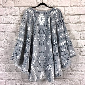 Adult Hospital Gift Fleece Poncho Cape Ivy Aztec Triangles Slate Blue Gray