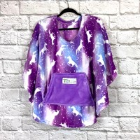Child Hospital Gift Fleece Poncho Cape Ivy Purple Unicorns