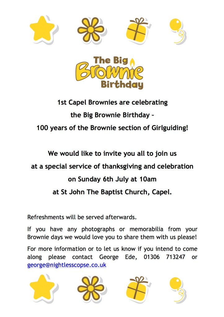 1st Capel Brownies are celebrating the Big Brownie Birthday!