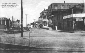 The city was rebuilt as a smaller, scaled-down version of itself after the 1878 fire.  This decision preserved the intimate scale of the resort that is so valued today. (above) Turn-of-the-century view of Perry Street taken from the boardwalk. (Author's collection) Click for larger