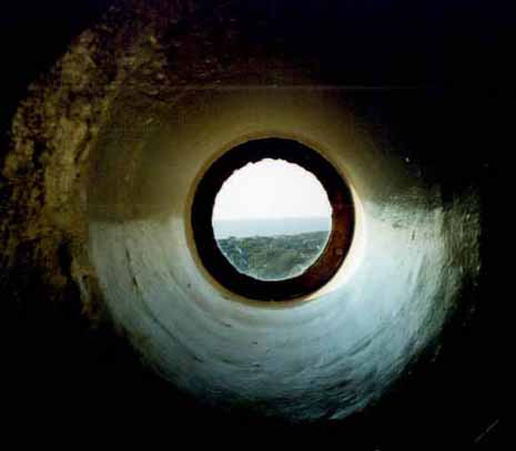 One of several portholes near the top of the tower that look out over Cape May Point, Lake Lily and the beaches.