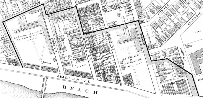 The outlined area on this copy of an 1878 map that appeared in the Philadelphia Bulletin days after the fire shows the extent of the devastation caused by the blaze that began in the Ocean House on Perry St.
