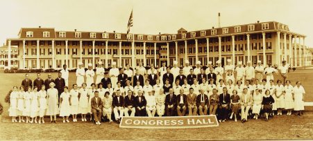 Hotel staff gathered on the lawn in 1928.