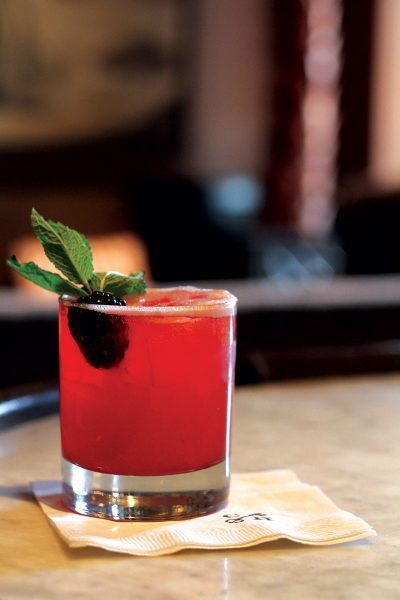 The Whiskey Smash from the Brown Room at Congress Hall