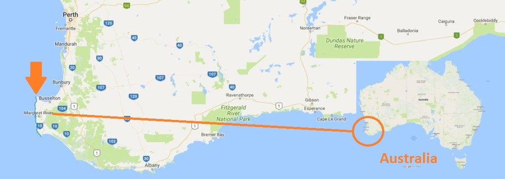 Map showing location of the cape to cape track in Australia