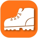 Icon for the Cape to Cape Track App. White boot on an orange background