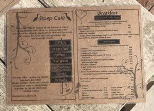 Stoep Cafe Menu 1