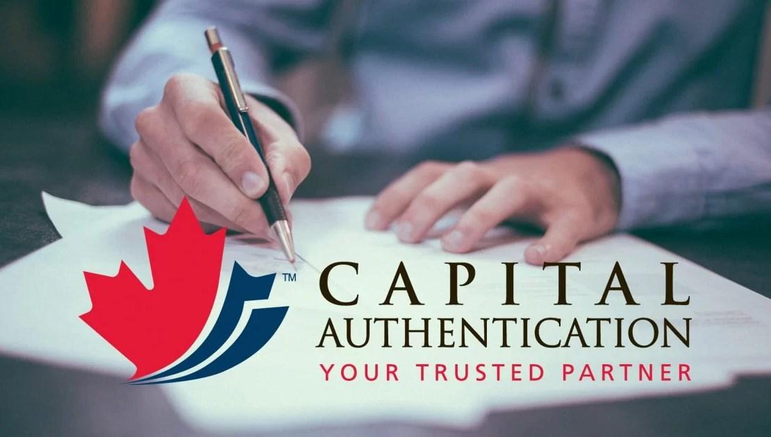 Capital Authentication - document authentication process