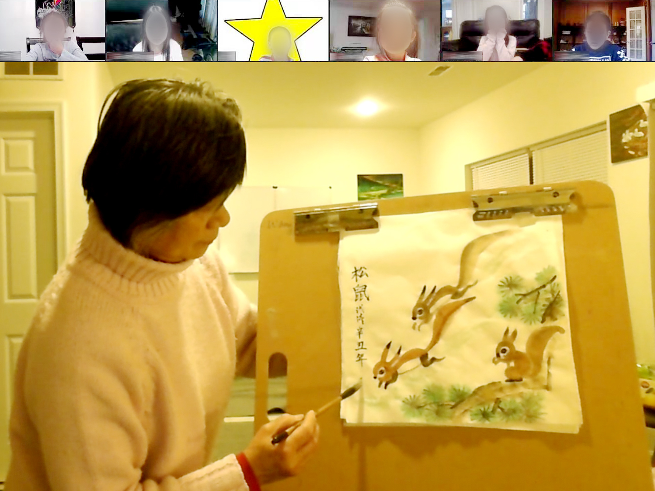 A person painting a picture  Description automatically generated with low confidence