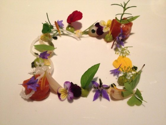 """Atelier course #2: """"Savage Garden"""" - paired not with sake (the point of this post) but with NZ Astrolabe Sauv Blanc"""