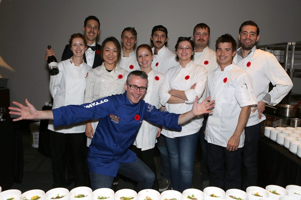 Marc Lepine with sommelier Steve Robinson (back row, with the bottle), sous chef Jason Sawision (front row, far left) & team atelier, at GMP 2015. Photo credit, Chris Klotz