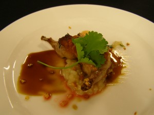 Carmichael's quail dish at the Black Box
