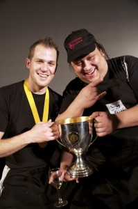 Montreal chefs Mathieu Cloutier and Jean-Philippe St-Denis with their Canadian Culinary Champion trophy.