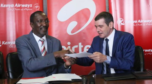 The MoU was signed by the Kenya Airways CEO and Managing Director Titus Naikuni and the Airtel Africa CEO, Christian de Faria in Nairobi/COURTESY