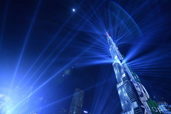 Dubai rings in New Year with laser spectacular      Capital News A picture taken on December 31  2017  shows a laser show at Burj Khalifa   the tallest tower in the world  to mark the New Year s eve celebrations in  Dubai