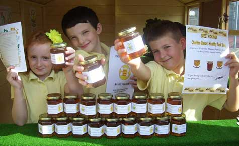 kids with honey