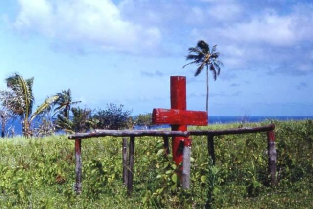 Ceremonial cross of John Frum cargo cult, Tanna island, New Hebrides (now Vanuatu), 1967