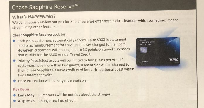 Chase to Make Negative Changes to Sapphire Reserve Card Benefits