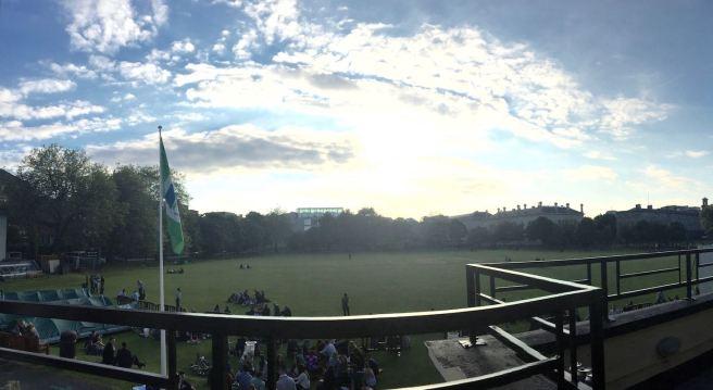 Trinity cricket field from the pub
