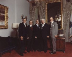 The House Democratic Leadership team in the late 1970's: (L to R) Chief Deputy Whip Dan Rostenkowski, Whip Brademas, Majority Leader Jim Wright, Speaker Tip O'Neill, Caucus Chairman Tom Foley