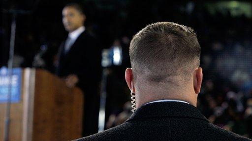 Secret Service agent on post protecting President Barack Obama (ABC News)