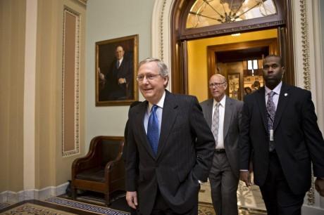 Senate Minority Leader Mitch McConnell and Sen. Pat Robers (AP Photo/J. Scott Applewhite)
