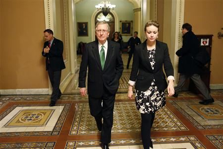 Senate Minority Leader Mitch McConnell (C) departs the senate floor with an aide after a senate vote in the early morning hours at the U.S. Capitol in Washington January 1, 2013. REUTERS/Jonathan Ernst