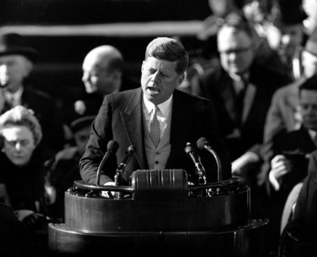 This Jan. 20, 1961 black-and-white file photo shows President John F. Kennedy delivering his inaugural address after taking the oath of office, on Capitol Hill in Washington. Sixteen presidents before Barack Obama got a second chance at giving an inaugural address for the ages. Most didn't make much of it. Abraham Lincoln is the grand exception. (AP Photo, File)