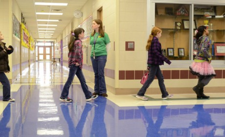 Students move through the halls of Meadows Elementary School in Fort Hood, Texas. Meadows is one of nine public schools on Fort Hood operated by Killeen Independent School District, which stands to lose at least $2.6 million before the end of the year if across-the-board federal spending cuts take effect.  (Killeen Independent School District, Todd Martin)