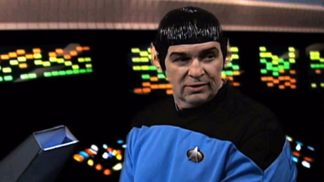 """This video image from an Internal Revenue Service video shows an IRS employee portraying Mr. Spock a scene from a video parodying the TV show """"Star Trek"""" that was made for a 2010 IRS training and leadership conference. The agency says the video, filmed at an agency studio in Maryland, along with a training video that parodied the TV show """"Gilligan's Island,"""" cost about $60,000. The """"Star Trek"""" video accounted for most of the money. The IRS on Friday, March 22, 2013 said it was a mistake for employees to make the six-minute video. (AP Photo/IRS)"""