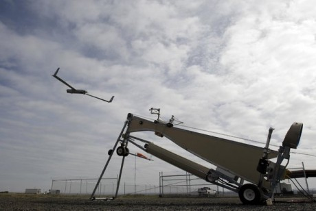 Insitu ScanEagle unmanned aircraft launched at the airport in Arlington, Ore. (AP Photo/Don Ryan)
