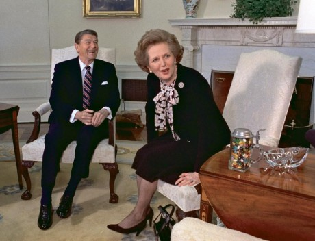 Former British Prime Minister Margaret Thatcher meets with her friend and political ally President Ronald Reagan during a visit to the White House in Washington.  (AP Photo/J. Scott Applewhite, file