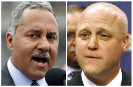 New Orleans Sheriff Marlin Gusman, left.  (AP Photo/Gerald Herbert, Jonathan Bachman)