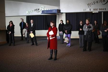 Job seekers listen to a presentation at the Colorado Hospital Association health care career fair in Denver. (REUTERS/Rick Wilking)