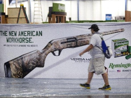 Exhibitors began setting up in preparation The National Rifle Association Annual Meetings on Wednesday, May 1, 2013, in Houston. The 2013 NRA Annual Meetings and Exhibits is scheduled to begin Friday.  (AP Photo/Houston Chronicle, Johnny Hanson)