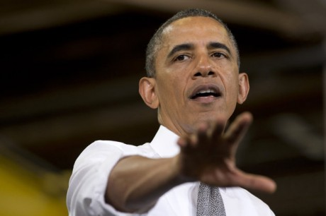 "President Barack Obama gestures as he speaks at Ellicott Dredges in Baltimore, Friday, May 17, 2013, during his second ""Middle Class Jobs and Opportunity Tour"". (AP Photo/Jacquelyn Martin)"