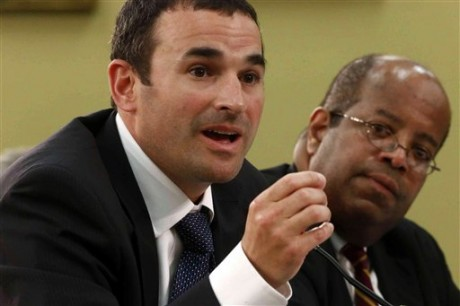 Acting IRS Commissioner Danny Werfel, left, accompanied by Treasury Inspector General for Tax Administration J. Russell George, testifies on Capitol Hill in Washington, Monday, June 3, 2013, before the House Appropriations subcommittee on Financial Services and General Government hearing regarding a report that the IRS spent about $50 million to hold at least 220 conferences for employees between 2010 and 2012. (AP Photo/Charles Dharapak)