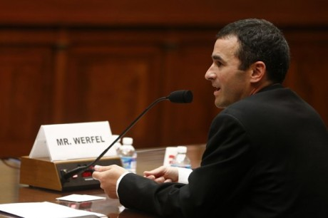 Acting IRS commissioner Danny Werfel testifies on Capitol Hill in Washington, Thursday, June 6, 2013, before the House Oversight and Government Reform Committee hearing regarding IRS conference spending. (AP Photo/Charles Dharapak)