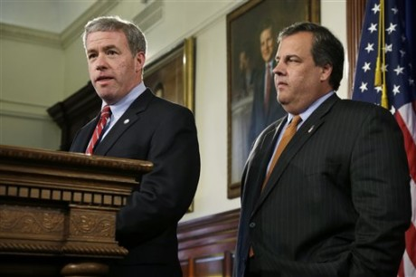 New Jersey Gov. Gov. Chris Christie, right, listens as New Jersey Attorney General Jeffrey Chiesa, 47, answers a question Thursday, June 6, 2013 in Trenton, N.J. Christie has named Chiesa to temporarily fill the U.S. Senate seat that opened up this week after Frank Lautenberg's death. Chiesa worked with Christie in the U.S. Attorney's office before becoming the top lawyer for the state government. He has overseen gun buyback programs all over the state, but has not had a particularly high profile. Christie has scheduled a special election for October to fill the seat until it expires in January 2015.(AP Photo/Mel Evans)