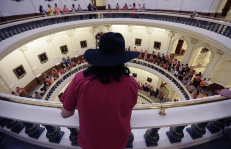 Hundreds line up to enter the Senate Chamber spills into multiple levels of the rotunda as Sen. Wendy Davis, D-Fort Worth, filibusters in an effort to kill an abortion bill. (AP Photo/Eric Gay)
