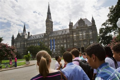 Prospective students tour Georgetown University's campus in Washington,  (AP Photo/Jacquelyn Martin)