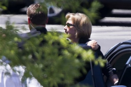 Former Secretary of State Hillary Rodham Clinton arrives at the White House in Washington, Monday, July 29, 2013, for lunch with President Barack Obama. It's the most talked about lunch in the nation's capital. President Barack Obama and former Secretary of State Hillary Clinton are dining privately at the White House Monday. While it's not the first time the pair have seen each other since Clinton left the administration earlier this year, each of their get-togethers are closely analyzed.  (AP Photo/Jacquelyn Martin)