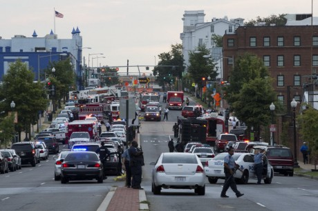 Scene on M Street, SE, following shooting at Washington Navy Yard. (AP/Jacquelyn Martin)